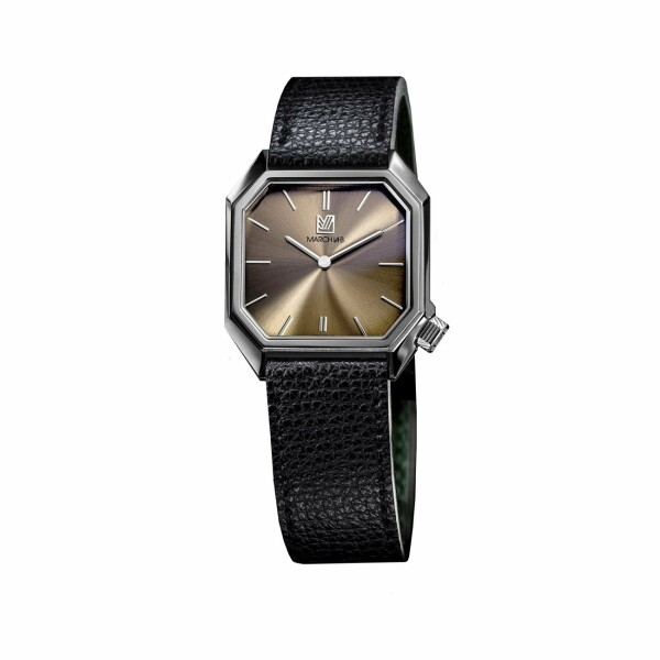 Montre March L.A.B Mansart Electric Gold - Cuir veau grainé noir