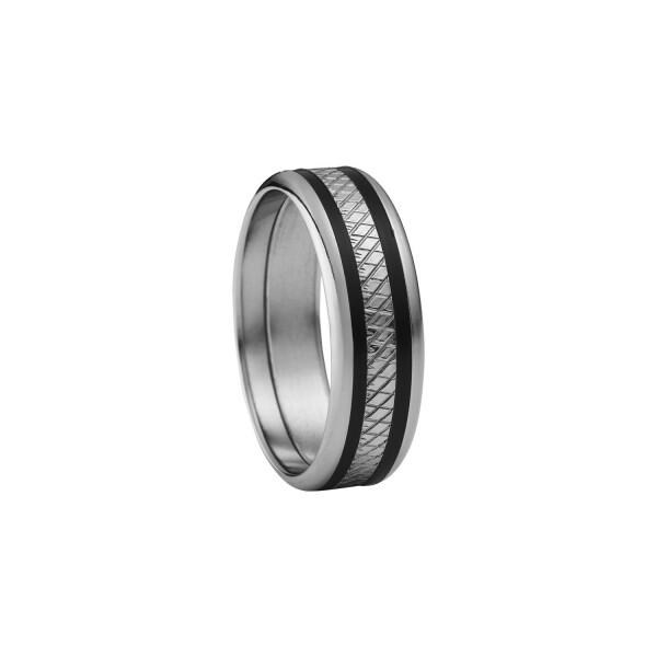 Bague Jourdan Bijoux Tyr en acier et résine noire