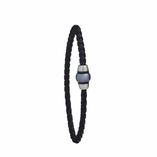 Bracelet Jourdan Bijoux Polo en cuir, acier PVD bleu