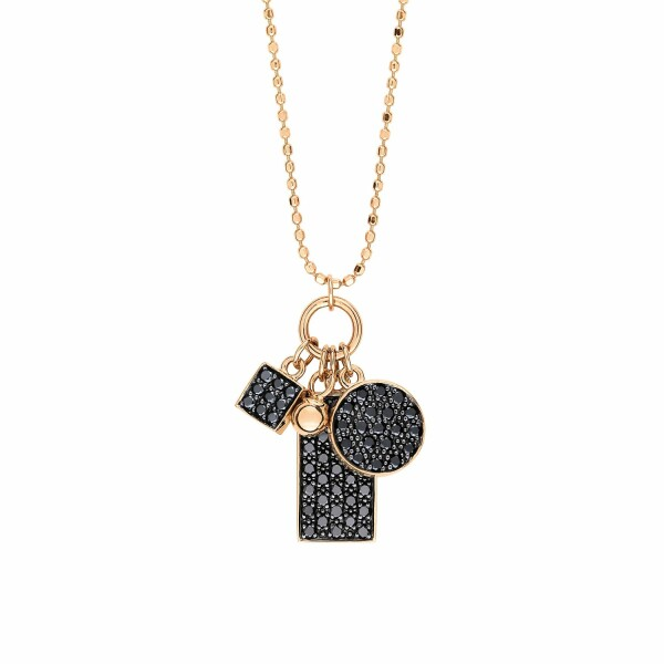 Collier GINETTE NY MINI EVER en or blanc et diamants noirs