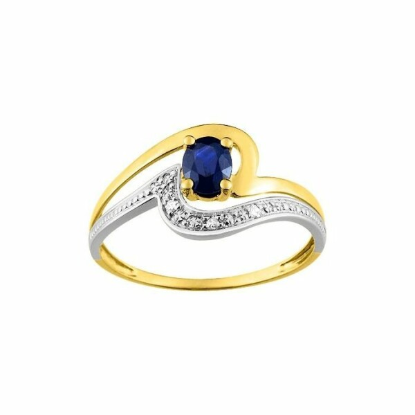 Bague en or blanc, or jaune, saphir et diamants de 0.015ct
