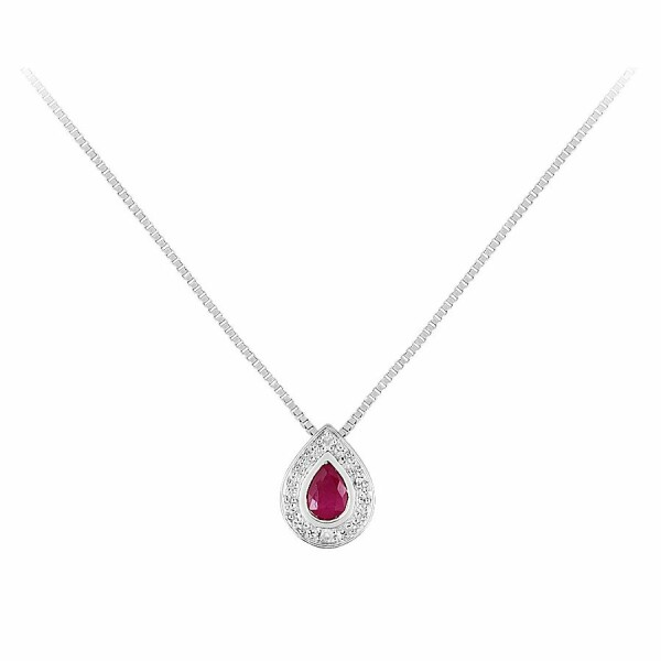 Collier en or blanc, diamant et rubis