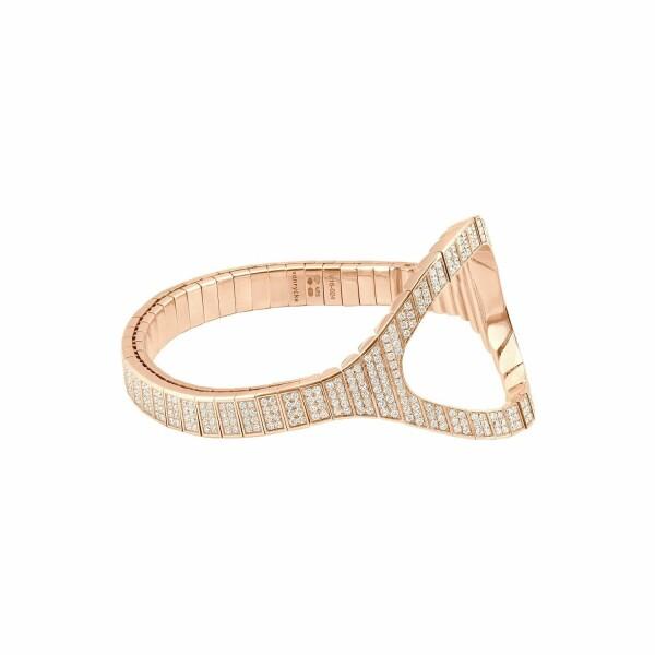 Bracelet Vanrycke Styloïde en or rose et pavée de diamants