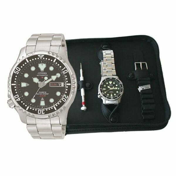 Coffret de montre Citizen Promaster Marine avec bracelet acier et bracelet caoutchouc NY0040-09EEM