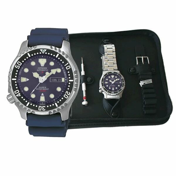 Coffret de montre Citizen Promaster Marine avec bracelet caoutchoux et acier NY0040-17LEM