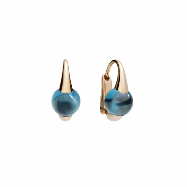 Boucles d'oreilles Pomellato M'ama non m'ama en or rose et topazes Blue London