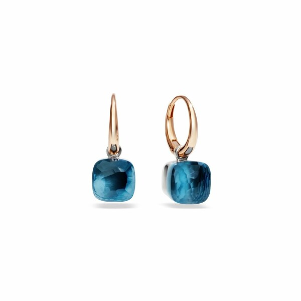 Boucles d'oreilles Pomellato Nudo en or rose, or blanc et topaze bleue london