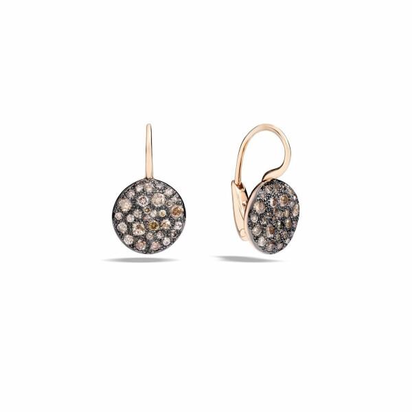 Boucles d'oreilles Pomellato Sabbia en or rose et diamants marrons