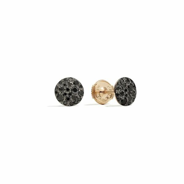 Boucles d'oreilles Pomellato Sabbia en or rose bruni et diamants noirs