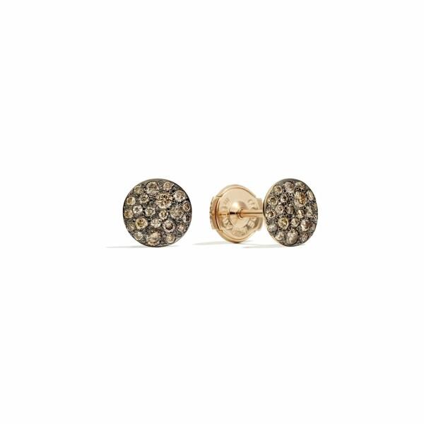 Boucles d'oreilles Pomellato Sabbia en or rose et diamants bruns
