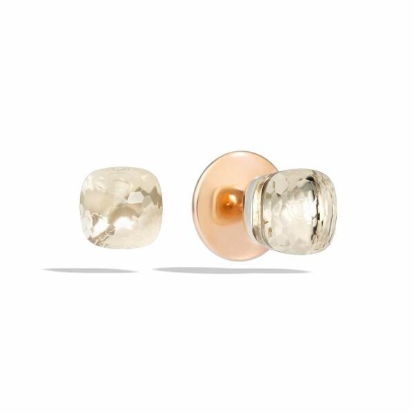 Boucles d'oreilles Pomellato Nudo en Or rose, or blanc et Topaze blanche