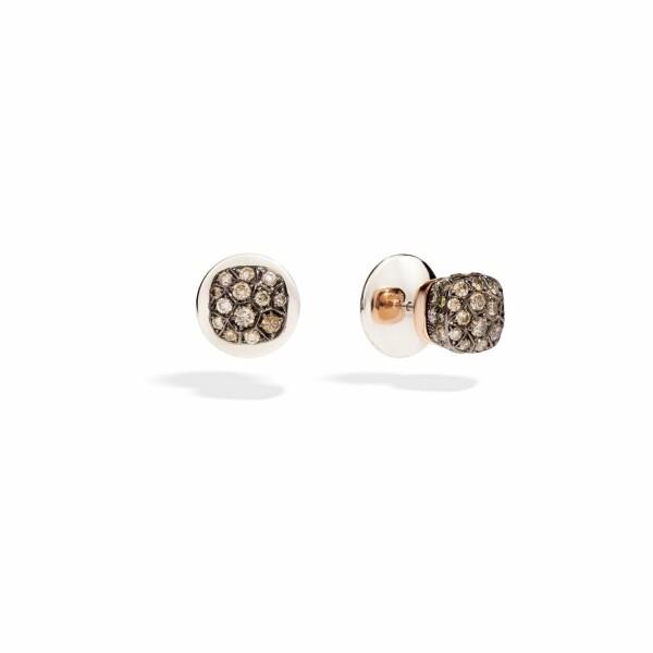 Boucles d'oreilles Pomellato Nudo en or rose, or blanc et diamants noirs