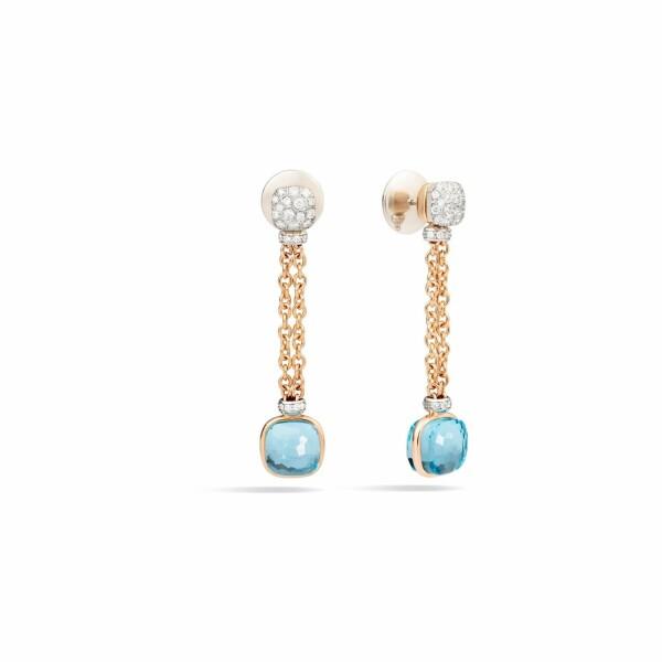 Boucles d'oreilles Pomellato Nudo en or rose, or blanc, topazes bleu ciel et diamants