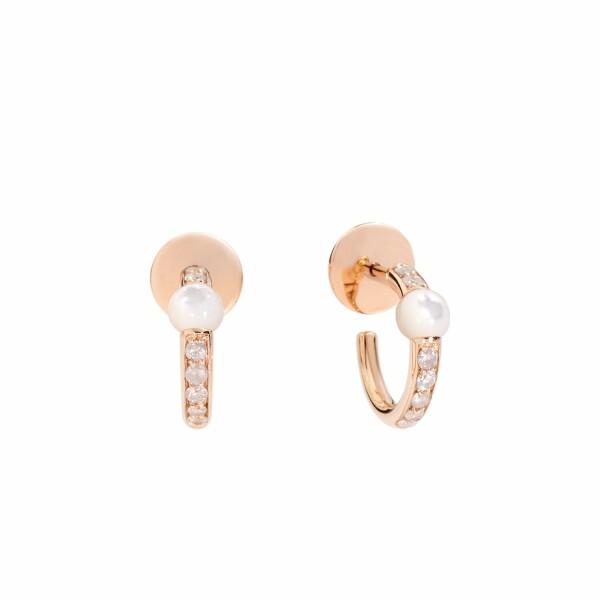 Boucles d'oreilles Pomellato M'ama non m'ama en or rose, perles nacrées et diamants