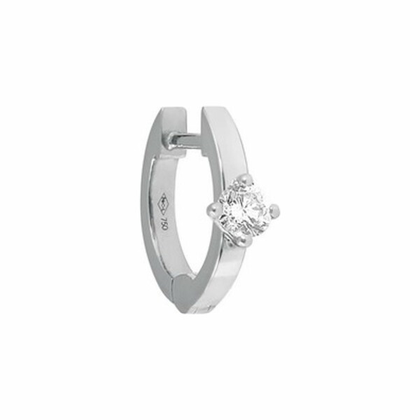Mono boucle d'oreille créole Vanrycke Officiel en or blanc et 1 diamant, taille XS