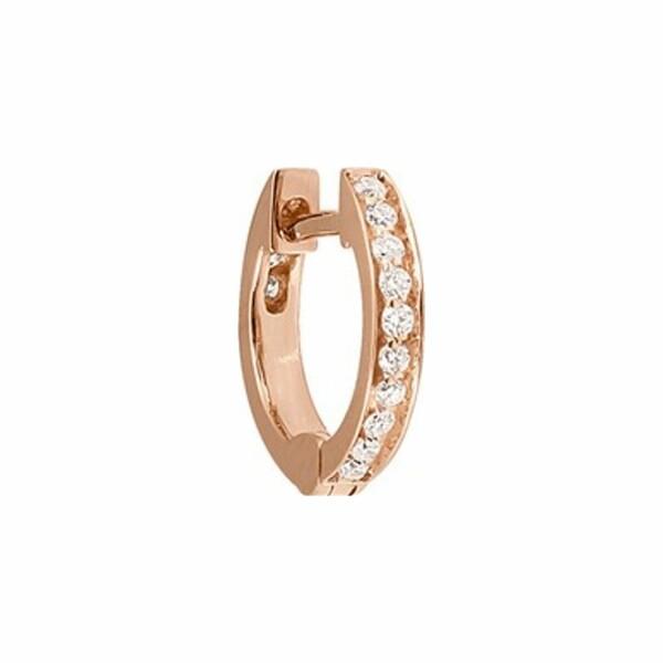 Mono boucle d'oreille créole Vanrycke Officiel en or rose et pavée de diamants, taille XS