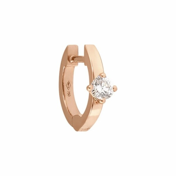 Boucles d'oreilles créoles Vanrycke Officiel en or rose et 1 diamant, taille XS