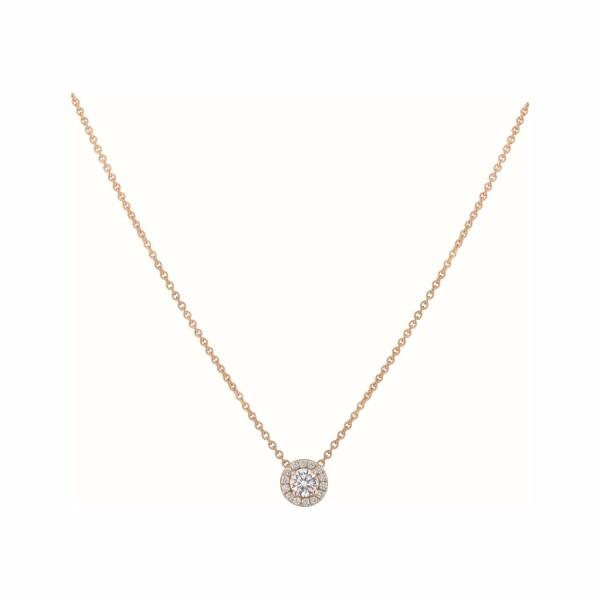 Pendentif diamant taille brillant entouré de diamants en or rose