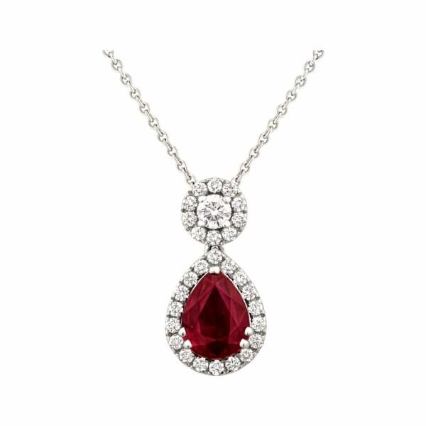 Pendentif rubis taille poire et diamants taille brillant en or blanc
