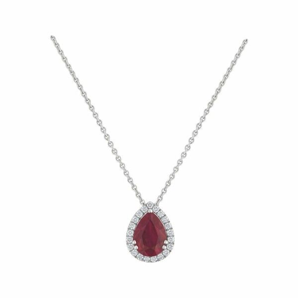 Pendentif rubis taille poire serti de diamants taille brillant en or blanc