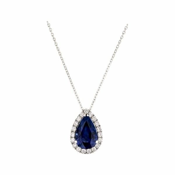 Pendentif Saphir bleu taille poire serti de diamants taille brillant en or blanc