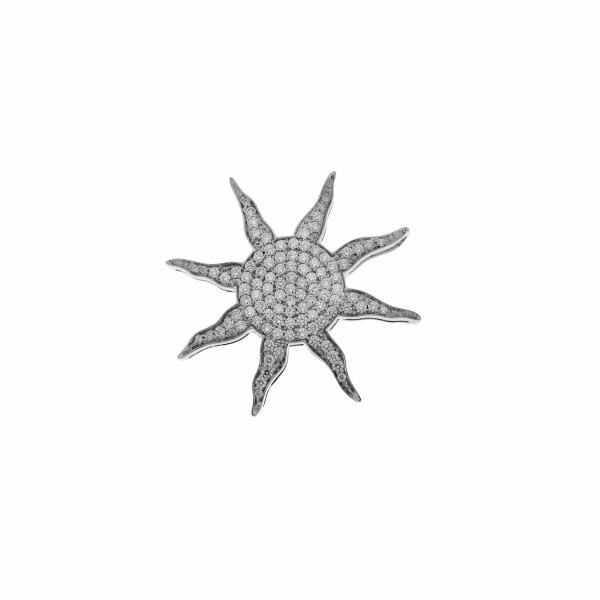 Pendentif Soleil en or blanc et diamants de 1.4cts