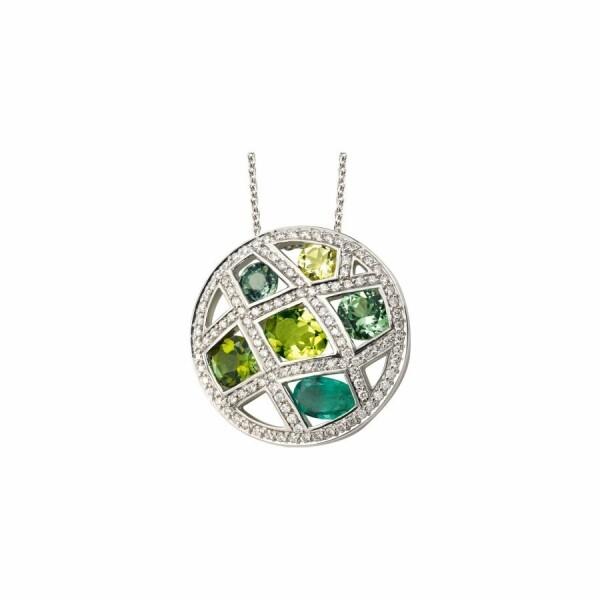 Collier en or blanc, grenat vert, quartz lemon, tourmaline verte, tsavorite, péridot, emeraude et diamants de 0.08ct
