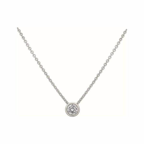 Pendentif diamant taille brillant serti clos en or blanc