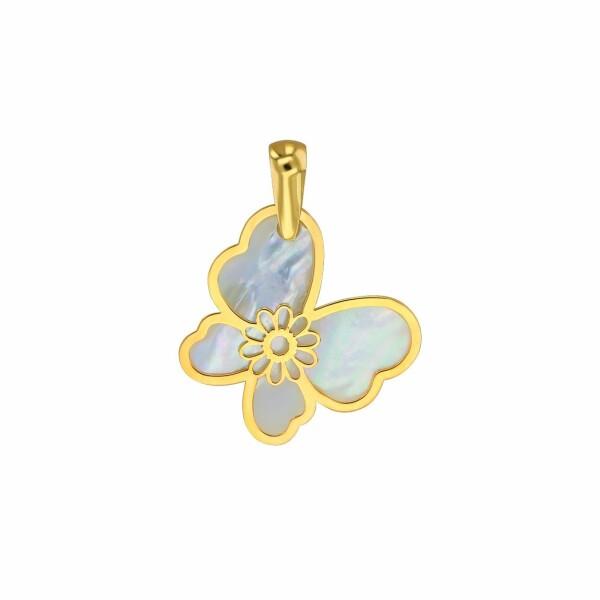 Pendentif Lucas Lucor papillon en or jaune et nacre