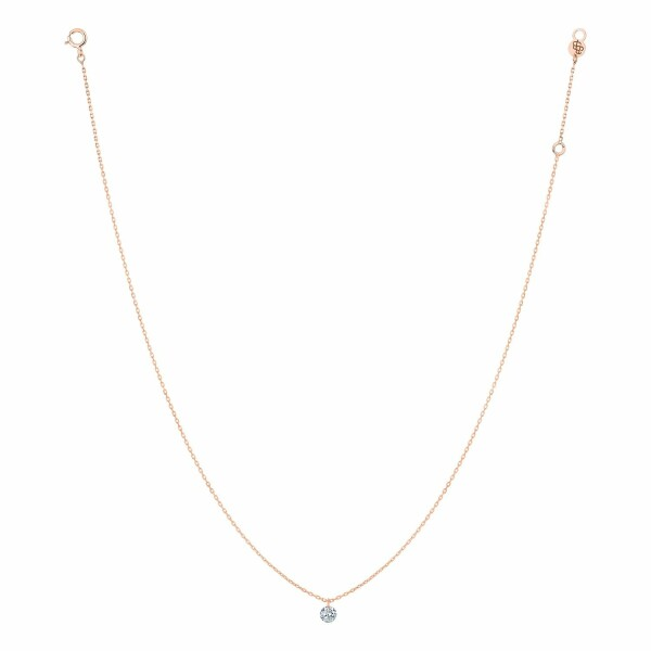 Collier LA BRUNE & LA BLONDE 360° en or rose et diamant de 0.10ct