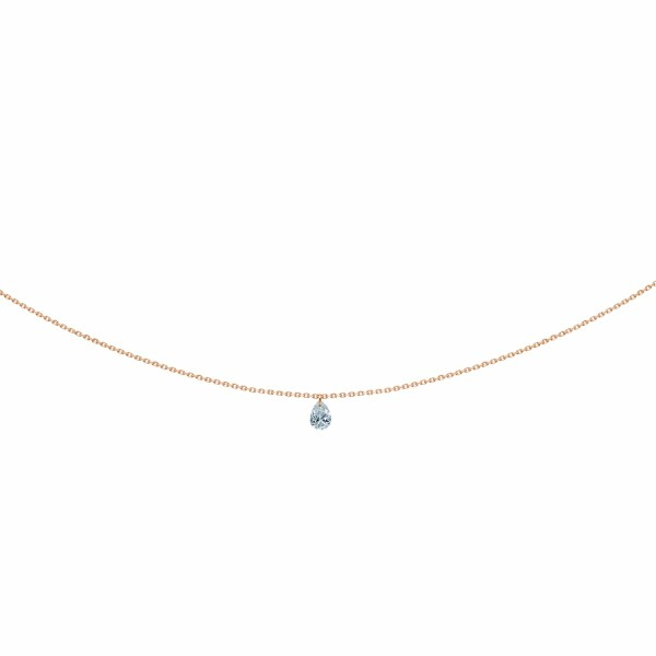Collier LA BRUNE & LA BLONDE 360° en or rose et diamant poire de 0.25ct