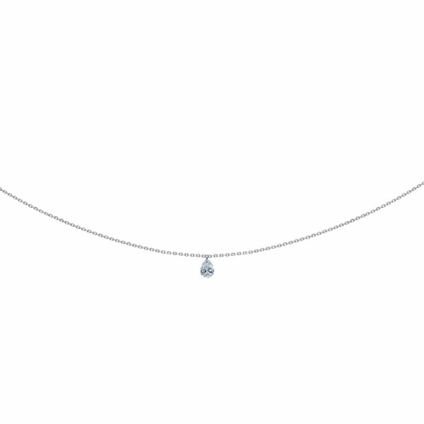 Collier LA BRUNE & LA BLONDE 360° en or blanc et diamant poire de 0.25ct