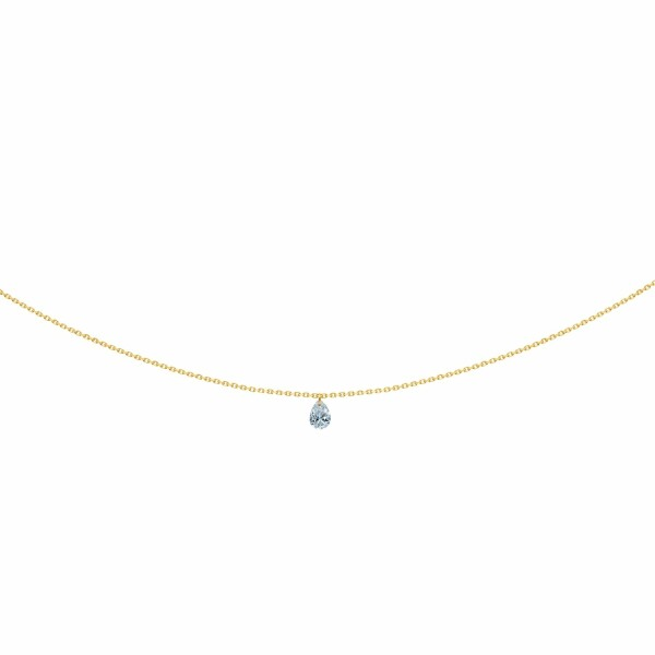 Collier LA BRUNE & LA BLONDE 360° en or jaune et diamant poire de 0.25ct