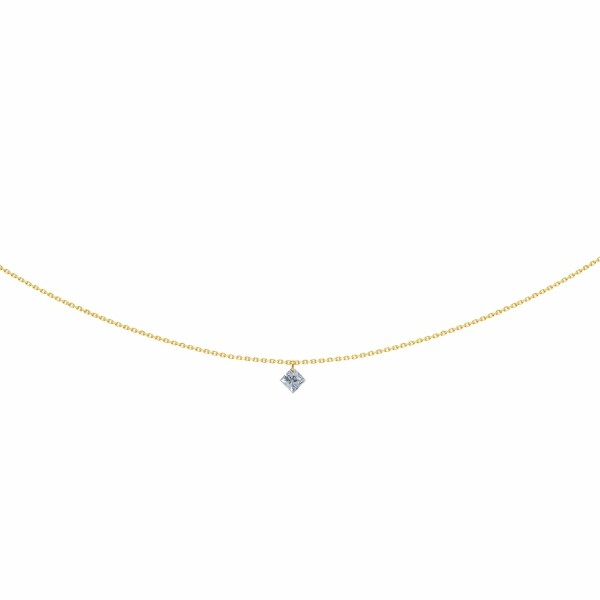 Collier LA BRUNE & LA BLONDE 360° en or jaune et diamant princesse de 0.20ct