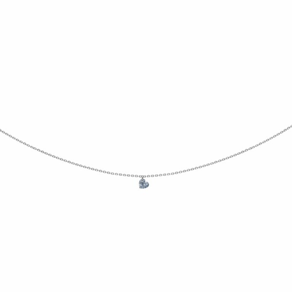 Collier LA BRUNE & LA BLONDE 360° en or blanc et diamant cœur de 0.15ct
