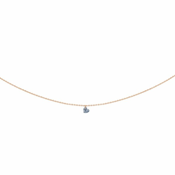 Collier LA BRUNE & LA BLONDE 360° en or rose et diamant cœur de 0.30ct