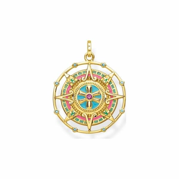 Pendentif Thomas Sabo Amulette en plaqué or jaune et pierres multicolores