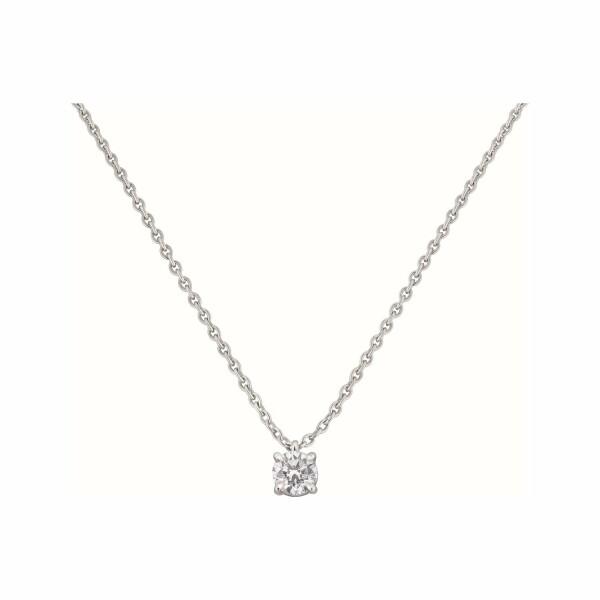 Pendentif diamant taille brillant serti 4 griffes en or blanc
