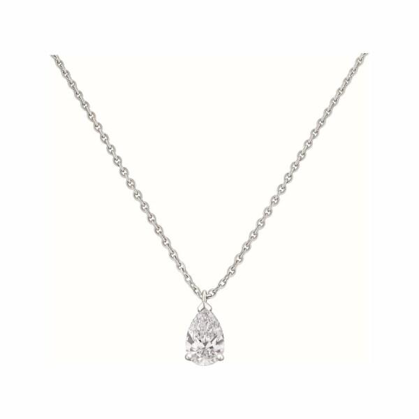 Pendentif diamant taille poire en or blanc