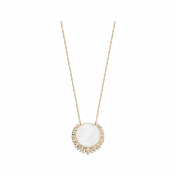Pendentif Piaget Sunlight en or rose, nacre blanche et diamants