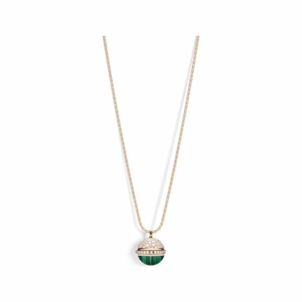 Collier sautoir Piaget Poseession en or rose, malachite et diamants