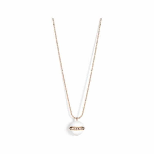Collier sautoir Possession en or rose, calcédoine blanche et diamants