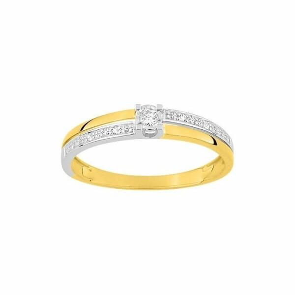 Bague en or blanc, or jaune et diamants de 0.042ct