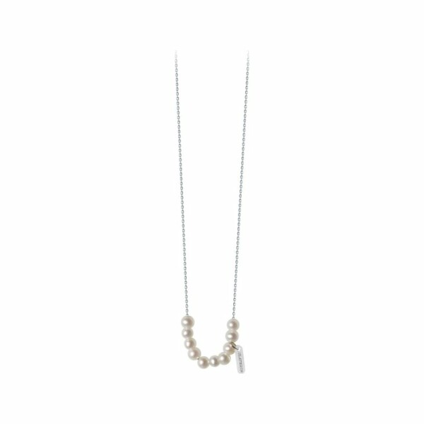 Collier Claverin Mini Rosary en or blanc et perles blanches