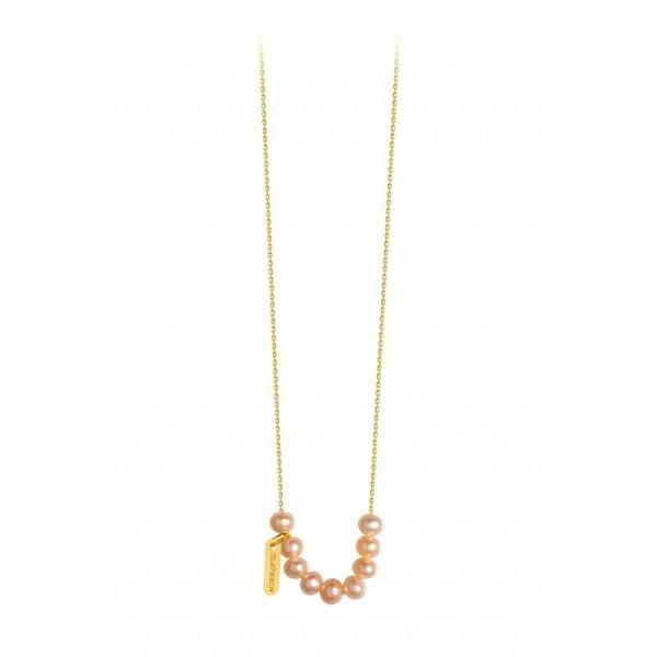 Collier Claverin Mini Rosary en or jaune et perles roses
