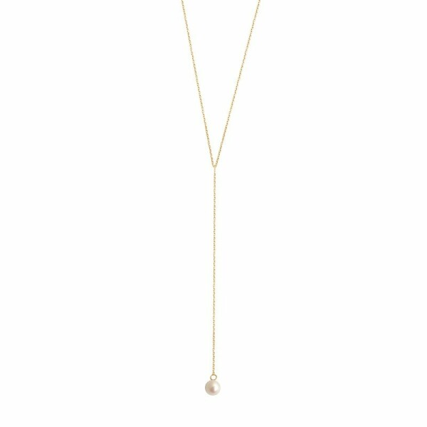 Collier Claverin Simply Mini Lasso en or jaune et perle blanche
