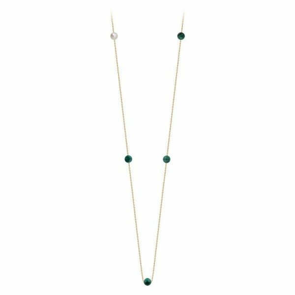 Collier Claverin Hope Five en or jaune, perles de malachite et perle blanche