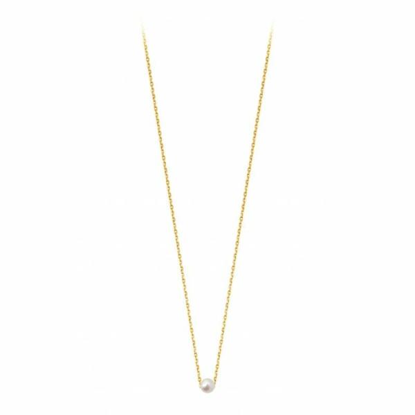 Collier Claverin Mini Simply Mini en or jaune et perle blanche
