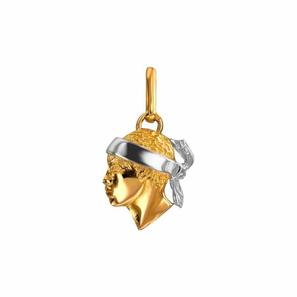 Pendentif Lucas Lucor tête de Maure en or jaune et or blanc, 12x14mm