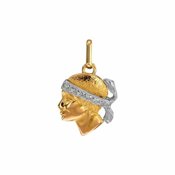 Pendentif Lucas Lucor tête de Maure en or jaune, or blanc et diamants, 15x12mm